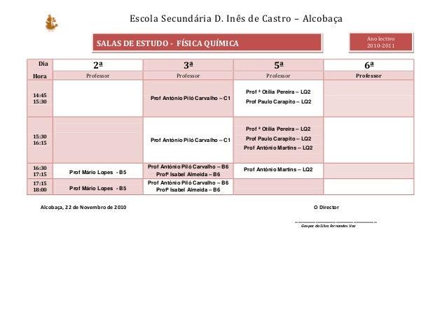 Escola Secundária D. Inês de Castro – Alcobaça Alcobaça, 22 de Novembro de 2010 O Director ____________________________ Ga...