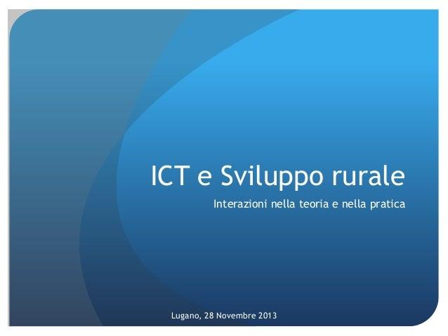 ICT per lo Sviluppo, con focus su agricoltura & sviluppo rurale