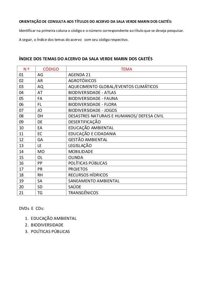 ORIENTAÇÃO DE CONSULTA AOS TÍTULOS DO ACERVO DA SALA VERDE MARIN DOS CAETÉS:Identificar na primeira coluna o código e o nú...