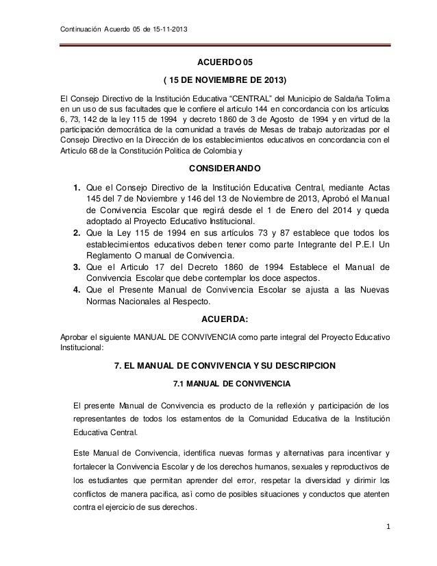 Continuación Acuerdo 05 de 15-11-2013  1  ACUERDO 05  ( 15 DE NOVIEMBRE DE 2013)  El Consejo Directivo de la Institución E...