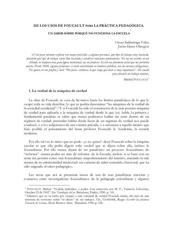 Saldarriaga y saenza de los usos de foucault