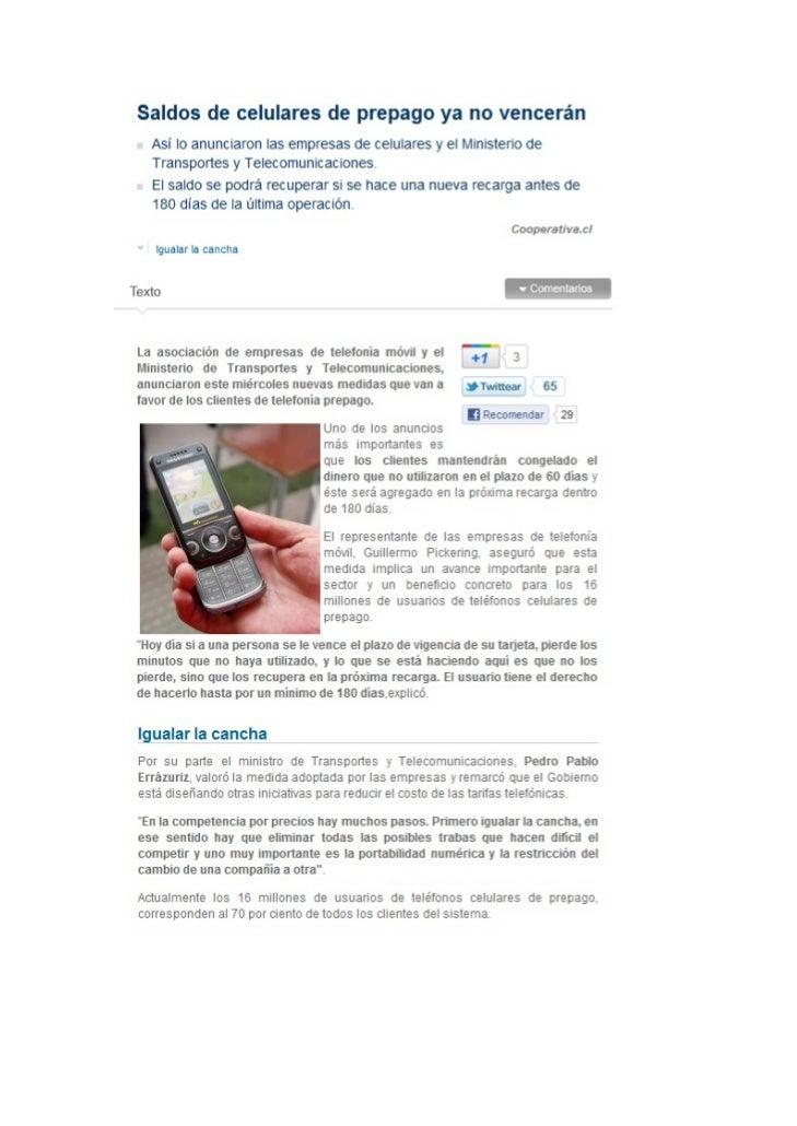 Saldos de celulares de prepago