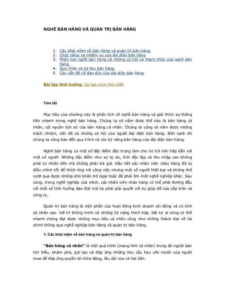NGHỀ BÁN HÀNG VÀ QUẢN TRỊ BÁN HÀNG           1. Các khái niệm về bán hàng và quản trị bán hàng           2. Chức năng và n...