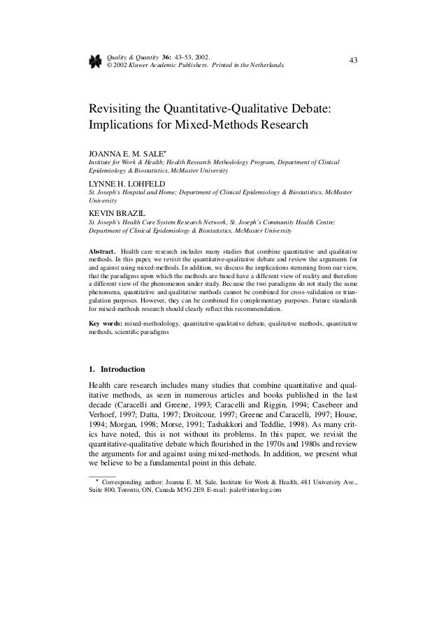 Quality & Quantity 36: 43–53, 2002. © 2002 Kluwer Academic Publishers. Printed in the Netherlands. 43 Revisiting the Quant...