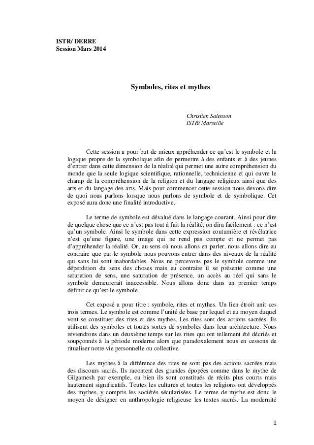 1 ISTR/ DERRE Session Mars 2014 Symboles, rites et mythes Christian Salenson ISTR/ Marseille Cette session a pour but de m...