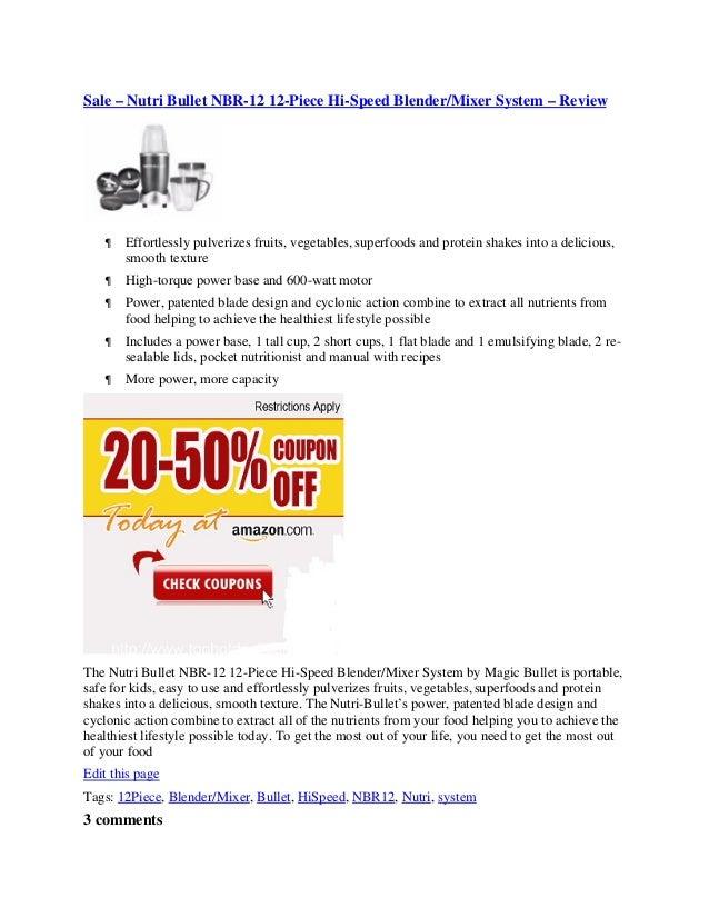 Sale – nutri bullet nbr 12 12-piece hi-speed blender mixer system – review