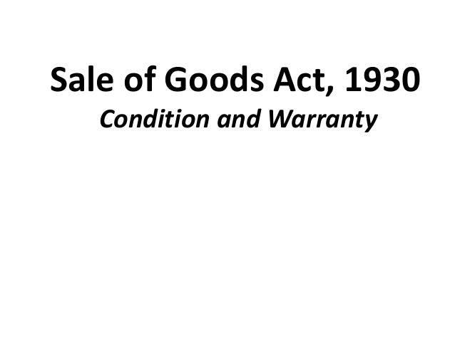 Sale of Goods Act Essay