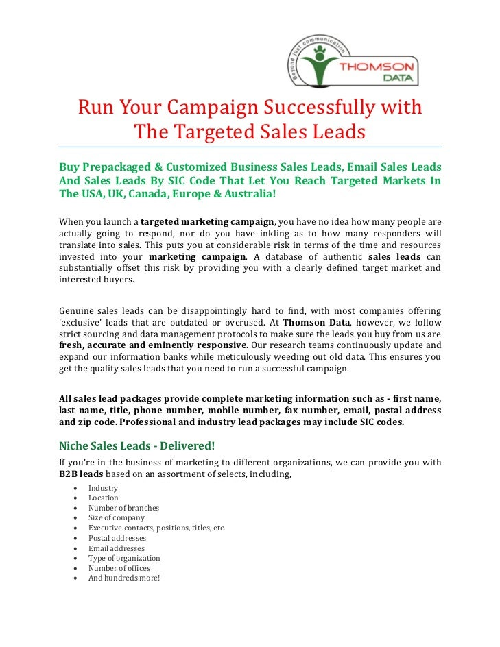 Run Your Campaign Successfully with         The Targeted Sales LeadsBuy Prepackaged & Customized Business Sales Leads, Ema...
