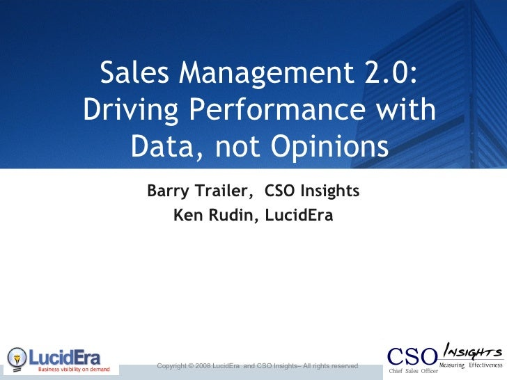 Sales Management 2 0: Metrics Not Hunches
