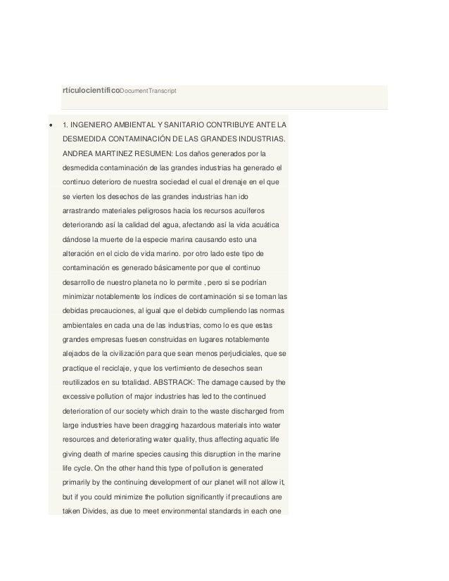 rtículocientíficoDocumentTranscript 1. INGENIERO AMBIENTAL Y SANITARIO CONTRIBUYE ANTE LA DESMEDIDA CONTAMINACIÓN DE LAS G...