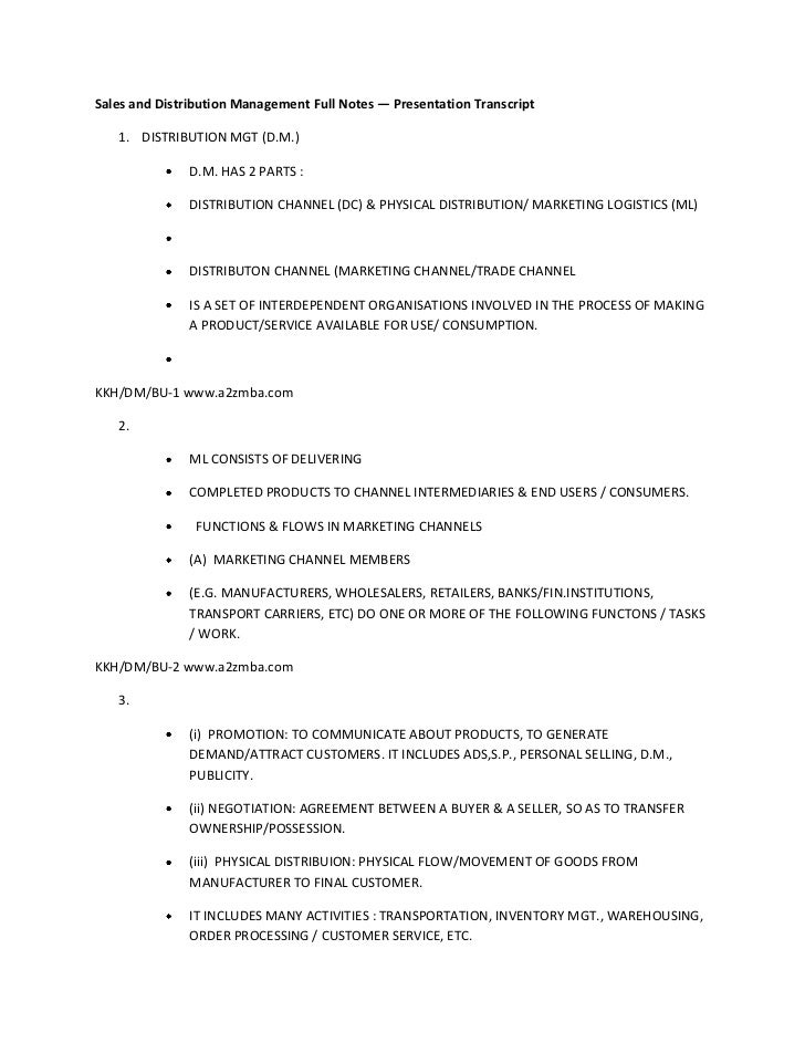 Sales and distribution management full notes
