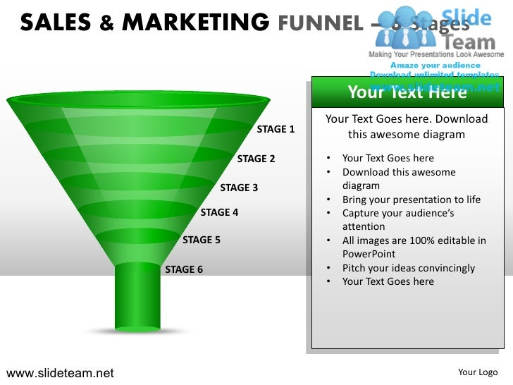 Sales and marketing funnel 6 stages powerpoint presentation templates.