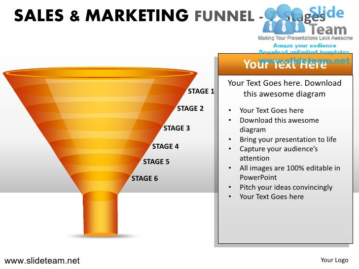 Sales and marketing funnel 7 stages powerpoint ppt slides.