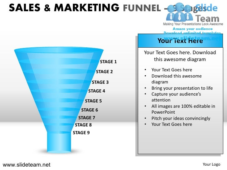 Sales and marketing funnel 9 stages powerpoint presentation slides.