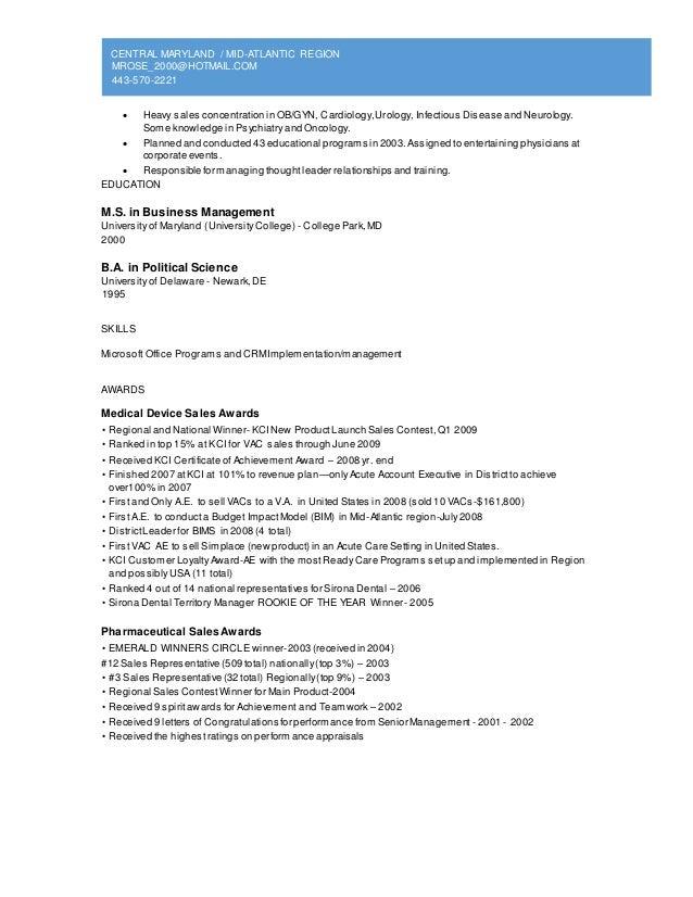 Sale and marketing resume