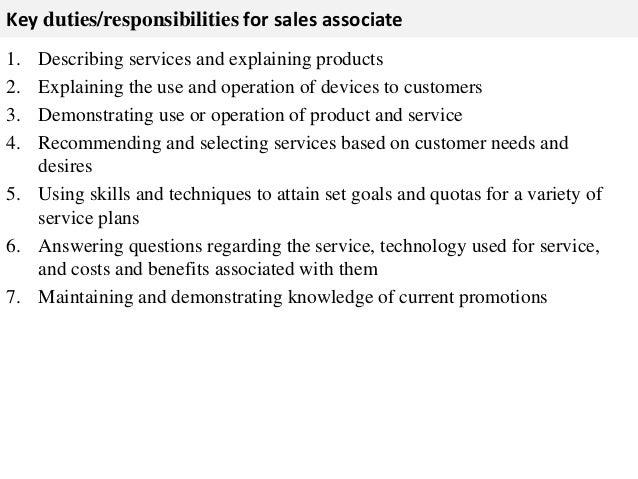 sales associate job description resume