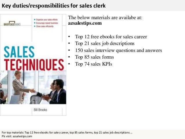 sales clerk   key duties responsibilities for  s clerk