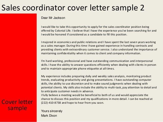 Sales coordinator cover letter
