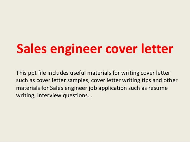 sales engineer cover letter sle cover