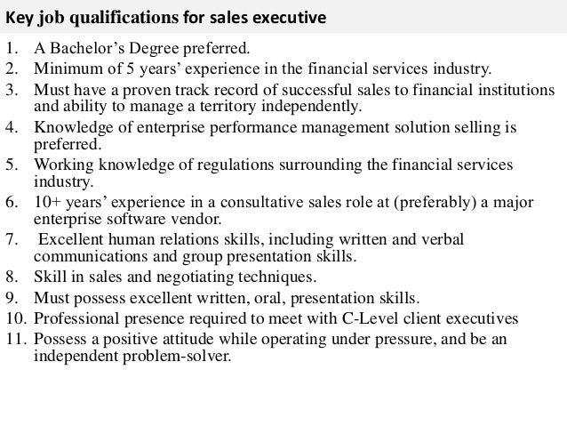 Sales executive job description