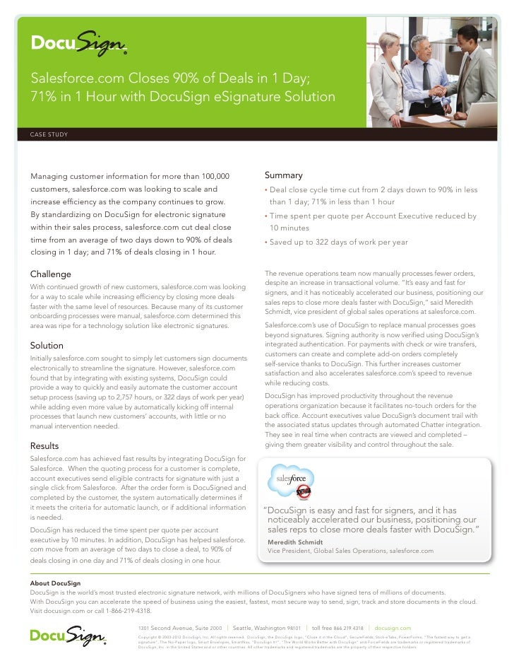 Salesforce.com Closes 90% of Deals in 1 Day;71% in 1 Hour with DocuSign eSignature SolutionCASE STUDY                     ...