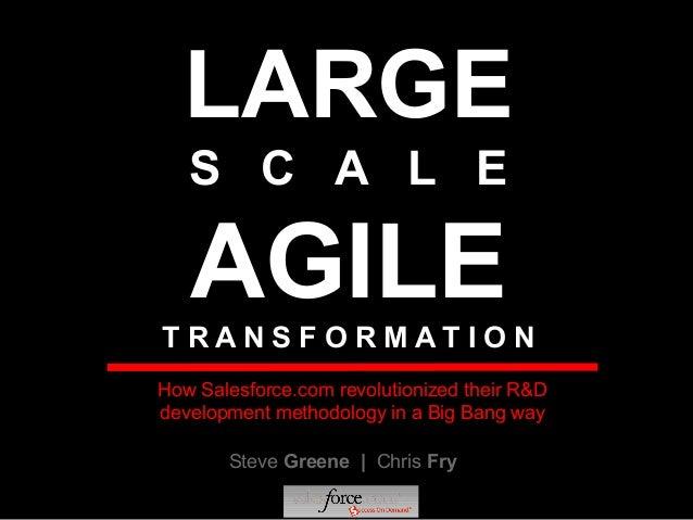 LARGE S C A L E AGILET R A N S F O R M A T I O N Steve Greene | Chris Fry How Salesforce.com revolutionized their R&D deve...