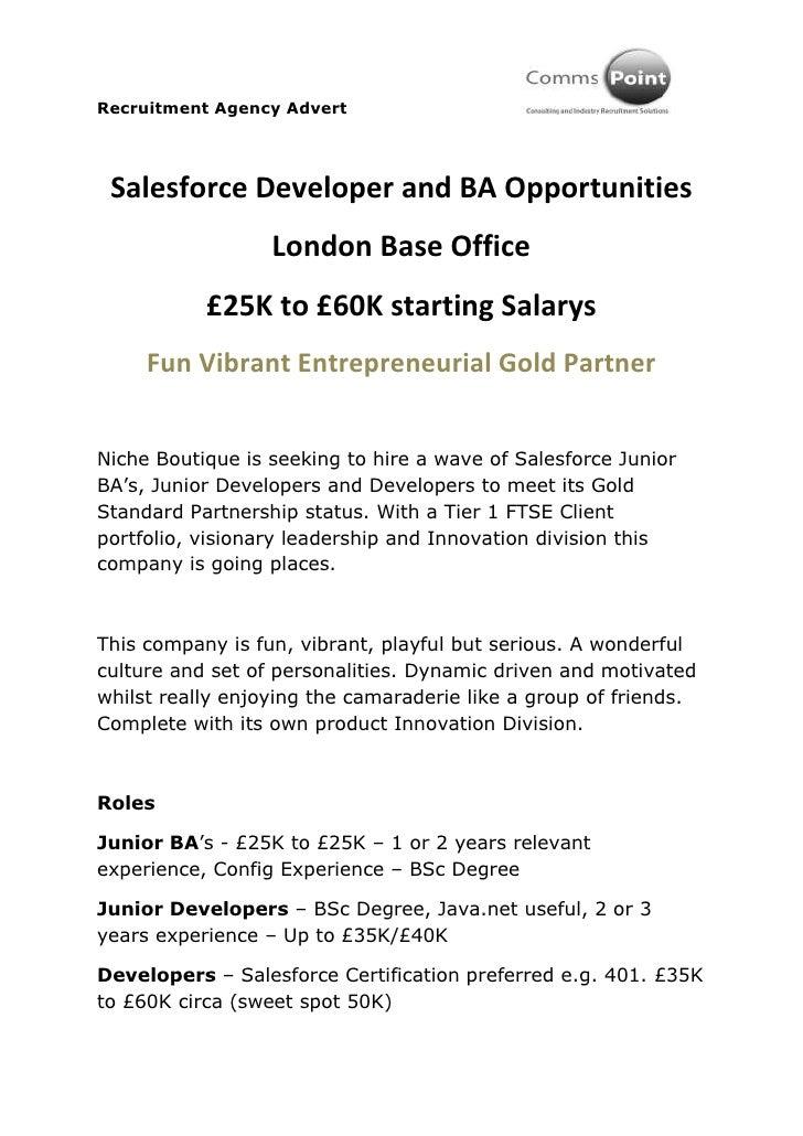 Recruitment Agency Advert Salesforce Developer and BA Opportunities                  London Base Office           £25K to ...