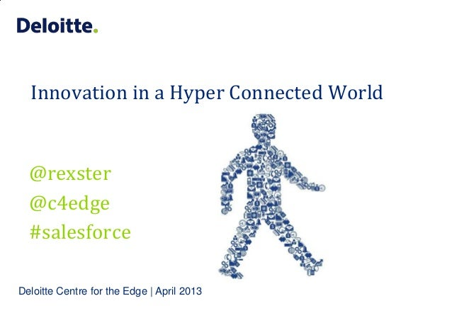 Innovation in a Hyper Connected World  @rexster  @c4edge  #salesforceDeloitte Centre for the Edge | April 2013