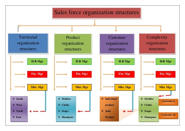 Sales force organization structures Territorial organization structures Product organization structures Customer organizat...