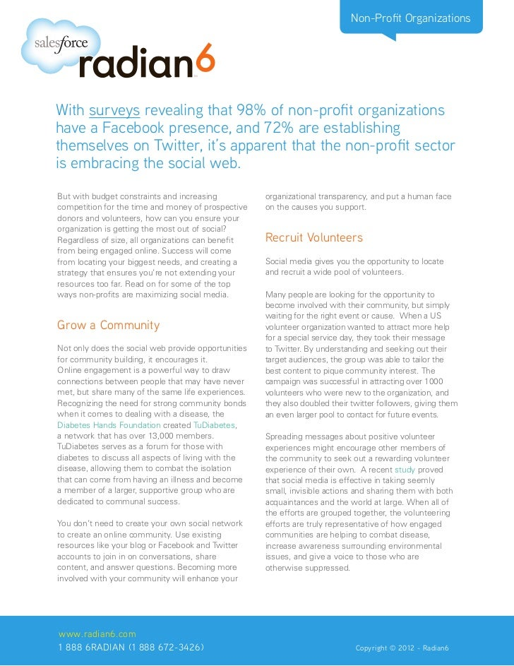 Non-Profit OrganizationsWith surveys revealing that 98% of non-profit organizationshave a Facebook presence, and 72% are e...