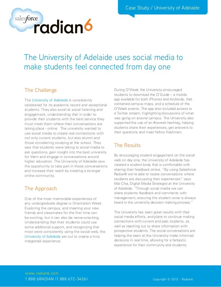 Case Study / University of AdelaideThe University of Adelaide uses social media tomake students feel connected from day on...