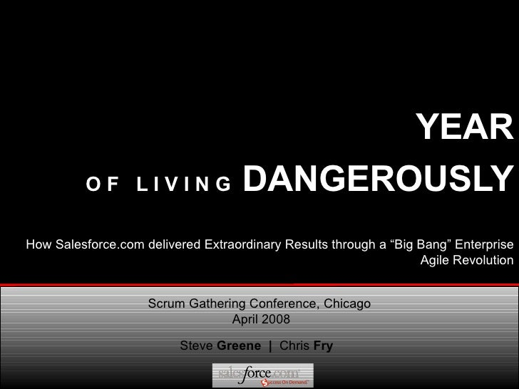 YEAR   O F  L I V I N G  DANGEROUSLY Steve  Greene  |  Chris  Fry Scrum Gathering Conference, Chicago  April 2008 How Sale...