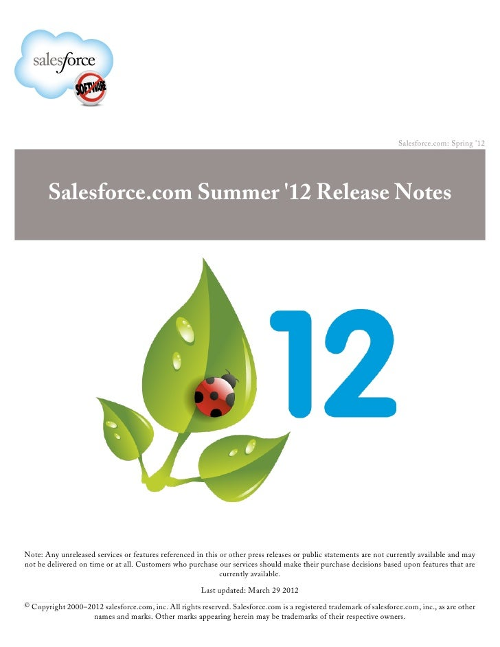 Salesforce Summer 12 Release Notes