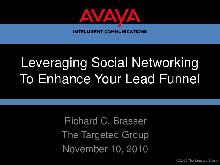 Leveraging Social Networking To Enhance Your Lead Funnel<br />Richard C. Brasser<br />The Targeted Group<br />November 10,...