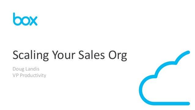 Scaling Your Sales Org Doug Landis VP Productivity