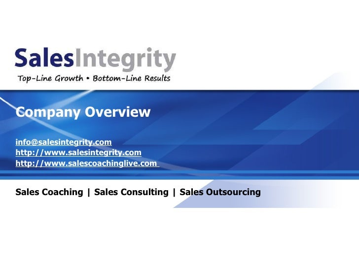 Sales Integrity Company Presentation Quick Overview (1)