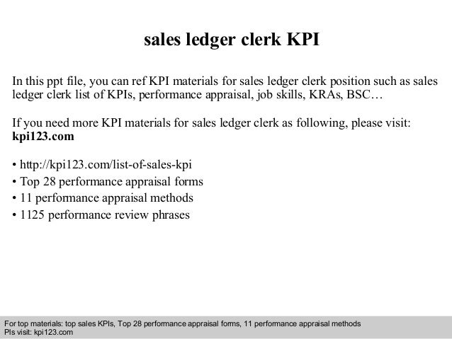 Sales Ledger Sales Ledger Clerk Kpi in This