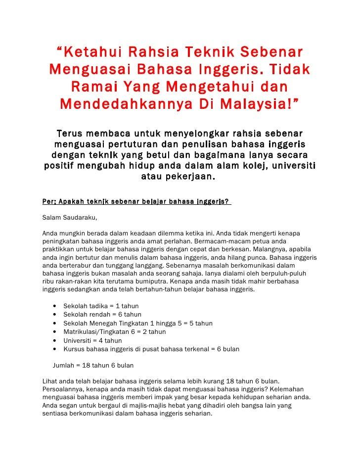 """""""Ketahui Rahsia Teknik Sebenar  Menguasai Bahasa Inggeris. Tidak     Ramai Yang Mengetahui dan   Mendedahkannya Di Malaysi..."""