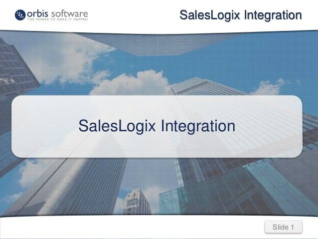 Slide 1Slide 1 SalesLogix Integration SalesLogix Integration