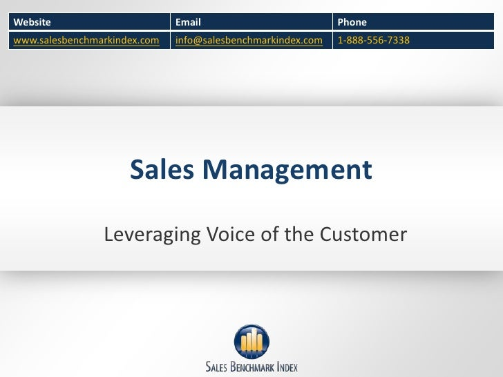 Sales Management - Capturing Voice of the Customer
