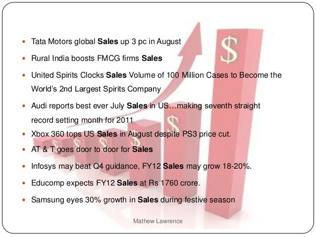  Tata Motors global Sales up 3 pc in August Rural India boosts FMCG firms Sales United Spirits Clocks Sales Volume of 1...
