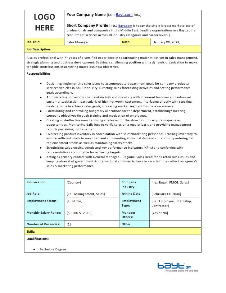 Sales Manager Job Description Template by Bayt.com