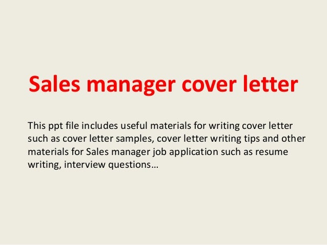 Sales Manager Cover Letter
