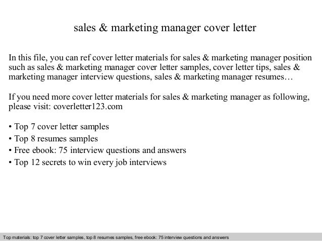 sales marketing manager cover letter