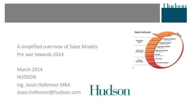 A simplified overview of Sales Models Pre war towards 2014 March 2014 HUDSON ing. Joost Holleman MBA Joost.holleman@hudson...