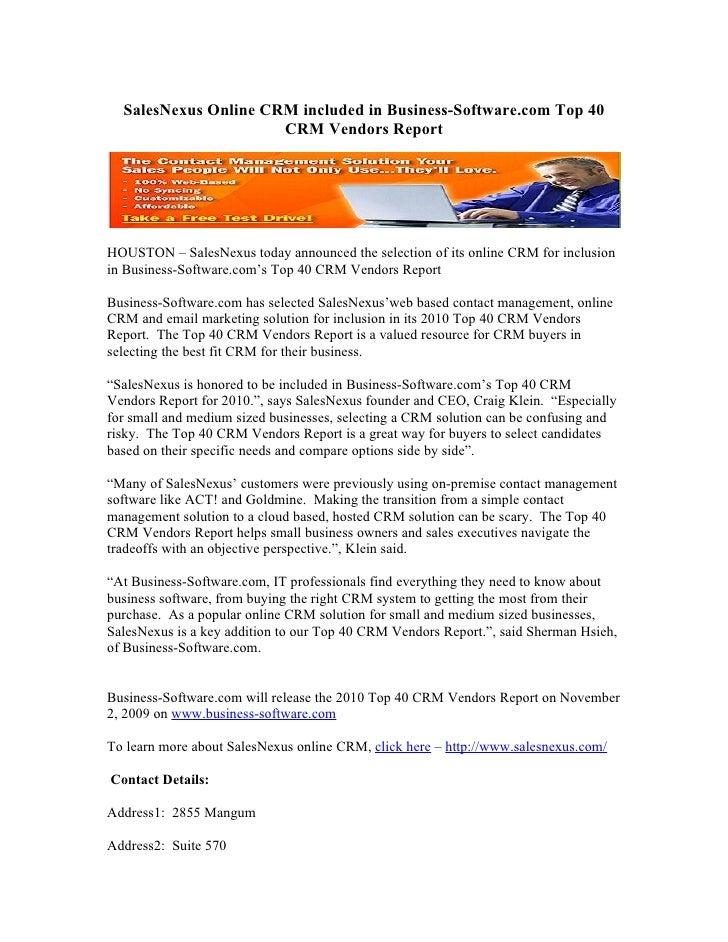 SalesNexus Online CRM included in Business-Software.com Top 40 CRM Vendors Report