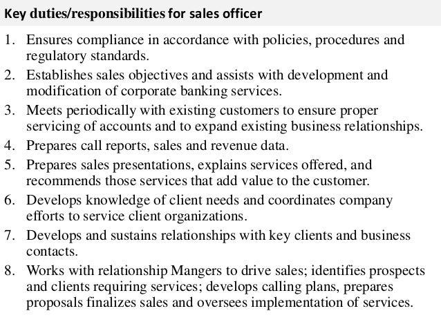 Sales officer job description - Job description of compliance officer ...