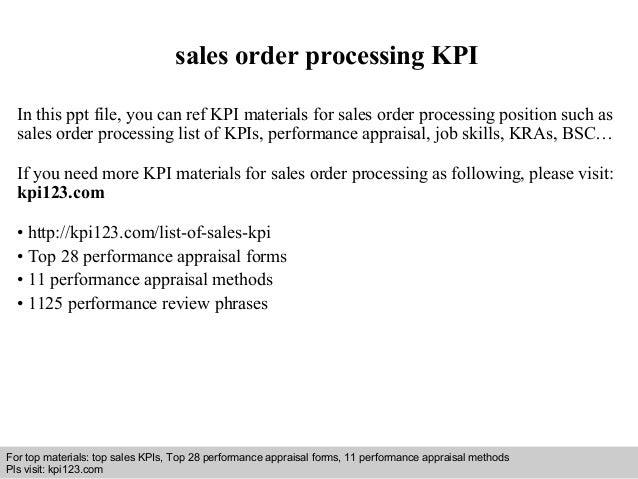 sales order processing kpi