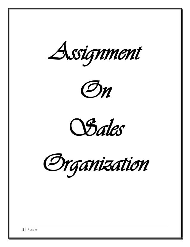 Assignment On Sales Organization 1 Page