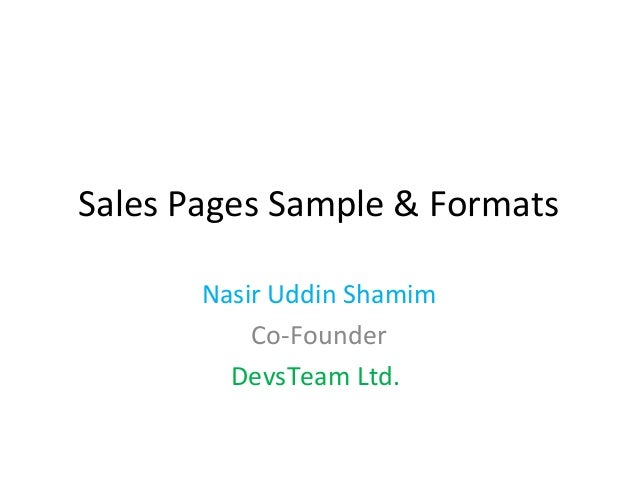 Sales Page Samples & Formats